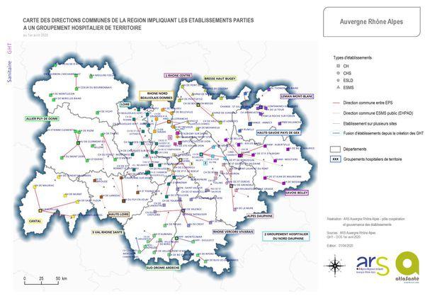 Voici la carte des groupements hospitaliers de territoire en Auvergne-Rhône-Alpes.