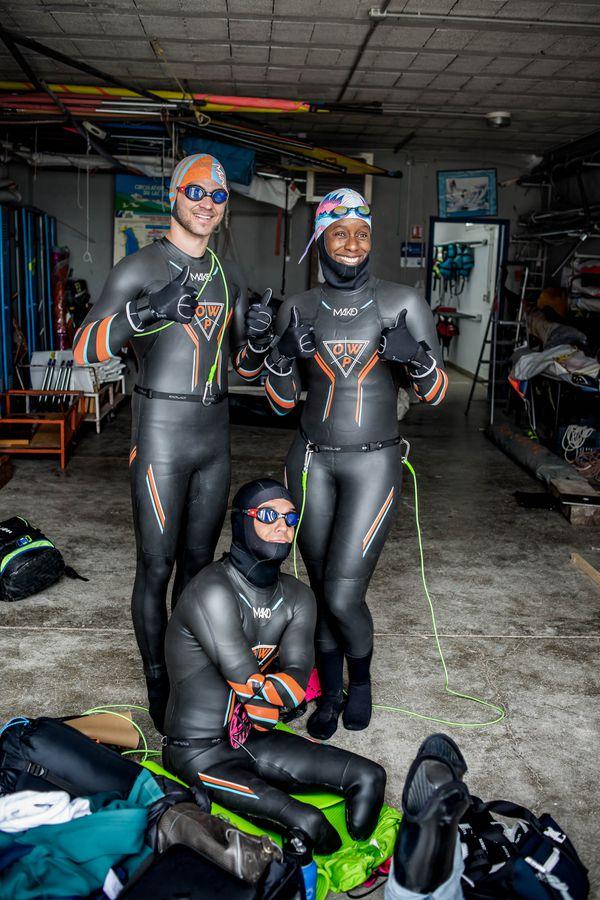 Le trio au club d'aviron d'Annecy. Avril 2021.