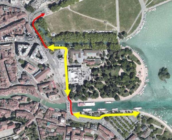 Le tracé de la future piste cyclable au bord du lac d'Annecy.