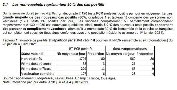 Tableau des tests positifs à la Covid-19 en lien avec l'état de vaccination. Données de la  Direction de la recherche, des études, de l'évaluation et des statistiques. 13 juillet 2021.